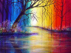 Fashion Rainbow river Painting Canvas Print x Modern Canvas Art Wall Decor Landscape Oil Painting Wall Art. River Painting, Rainbow Painting, Painting Canvas, Rainbow River, Modern Canvas Art, New Art, Art Drawings, Illustration Art, Illustrations