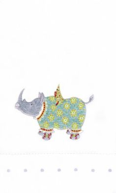 Roberta Rhino Tea Towel - 08-31044 - 6.75x11