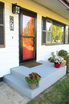 An Affordable Porch Makeover, Painted Concrete, Painted Front Porch, BEHR DeckOver, Small Front Porch, Painted Front Steps, Painted Cement, Painted Concrete