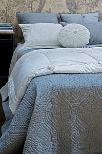 Melagrana quilted bedspread by bianca lorenna fine linens Blue Bedspread, Blue Bedding, Quilted Bedspreads, White Cottage, Blue Quilts, Soft Blankets, Down Pillows, Dream Bedroom, Bed Spreads