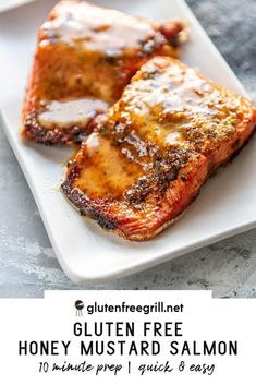 Simple, flavorful and healthy salmon the whole family will love! Less than 20 minutes until you have this delicious Honey Mustard Salmon on the table! Healthy Grilling Recipes, Heart Healthy Recipes, Grill Recipes, Mustard Bbq Sauce, Honey Mustard Salmon, Gluten Free Recipes For Dinner, Dinner Recipes, Dinner Ideas, Grilled Carrots
