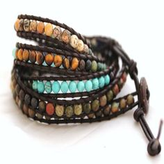 leather wrap beaded braclet