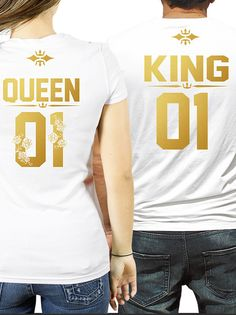 Couple shirts, King and Queen couple t-shirts with Golden letters, King Queen 01 tshirts, King Queen shirts, pärchen t-shirts, Paar T-shirts, Matching couple shirts