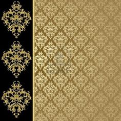 Black and gold background with abstract plant Stock Photo - 10199746