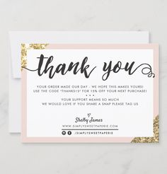 Thank You Customers, Thank You For Order, Thank You Card Design, Custom Thank You Cards, Business Thank You Notes, Business Cards, Product Packaging, Packaging Ideas, Promotional Design