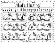 November literacy and math activities for Kindergarten.
