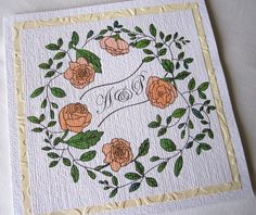 Pack of 10 Rose and Leaf Invitations £35.00