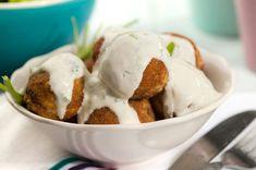 Κροκέτες κοτόπουλου με σάλτσα γιαουρτιού Greek Recipes, Ice Cream, Eggs, Chicken, Cooking, Breakfast, Desserts, Yum Yum, Food