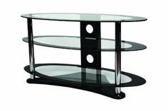 B-Tech BTF104 VENTRY - Oval TV Stand with 3 Glass Shelves (1000mm wide) with Black and Clear Glass and Chrome Legs £113