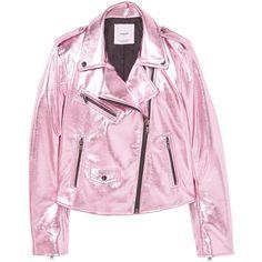 MANGO Crystals metallic jacket (320 DKK) ❤ liked on Polyvore featuring outerwear, jackets, mango, coats, mango jackets, zip jacket, pink zip jacket, lapel jacket and metallic jacket