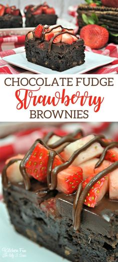 Chocolate Fudge Strawberry Brownies recipe #chocolate #fudge #strawberry #brownies #baking #dessert #treat #sweet #food #foodblogger #yum