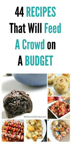 44 Recipes That Will Feed A Crowd on A Budget - If you are looking to please the crowd for the big game, a birthday party or any other reason these 44 recipes will have you feeding the crowd delicious food on a budget! (birthday food ideas on a budget) Frugal Meals, Cheap Meals, Budget Meals, Easy Meals, Budget Recipes, Cheap Food, Cheap Party Food, Inexpensive Meals, Large Party Food