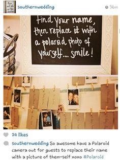 Polariod photo guest book wedding details ideas