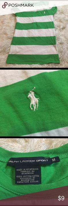 Ralph Lauren sport women's tee sz M Great green & white striped t shirt. Little polo guy on chest. Good shape, no rips or stains. Chest measures 15 inches. Bundling is fun; check out my other items! No price talk in comments. No trades or holds. Ralph Lauren Tops Tees - Short Sleeve