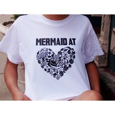 GoodWitchBoutique Mermaid at Heart Graphic Tee Mermaid Shirt I'm a... ($18) ❤ liked on Polyvore featuring tops, t-shirts, white, women's clothing, turtle tee, white tee, turtle shirt, heart shirt and white t shirts