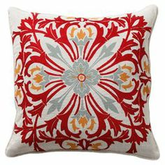 "Feather-down pillow with an embroidered floral motif. Product: Pillow      Construction Material: Cotton-linen blend cover and feather-down fill  Color:  Red, white and blue Features: Printed and embroidered  frontInsert included     Dimensions: 18"" x 18"""