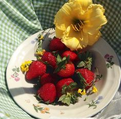 strawberries and flowers, red green and yellow, picnic Strawberry Baby, Strawberry Fields Forever, Strawberry Shortcake, Types Of Aesthetics, Summer Aesthetic, Red Aesthetic, Fruit Salad, Summertime, Food Porn