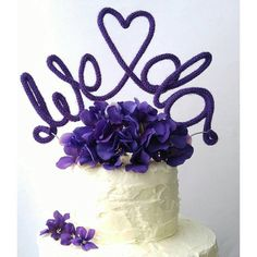 Custom made wire cake topper. Purple wedding decor. We Do cake topper. Dark purple Wedding decorations.
