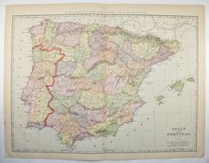 Antique Spain Map Vintage Map of Portugal Large Map 1901 Unique Gift for Office Genealogy Gift for Anniversary Wedding Prop Old Travel Map by OldMapsandPrints on Etsy