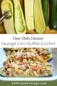 Zucchini filled with meat and vegetables is a great one-dish dinner option! This recipe for Italian sausage and corn stuffed zucchini will become a seasonal family favorite with its delicious flavor and use of garden fresh produce. One Dish Dinners, Lunches And Dinners, Grilling Recipes, Pork Recipes, Easy Healthy Recipes, Easy Meals, Healthy Food, Dinner Menu, Dinner Recipes