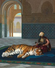 Le Tigre Et Le Gardien Artwork by Jean Leon Gerome Jean Leon, Barnett Newman, Arabian Art, Image Chat, Alex Colville, Audrey Kawasaki, Academic Art, Andrew Wyeth, Oil Painting Reproductions
