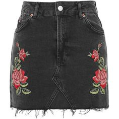 MOTO Rose Embroidered Mini Skirt | Hudson's Bay ($80) ❤ liked on Polyvore featuring skirts, mini skirts, bottoms, short mini skirts, rose skirt, embroidered mini skirt, embroidered skirt and short skirts