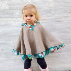 Fleece-lined Hooded Poncho for Toddlers