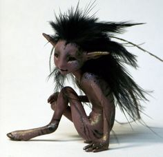 OOAK shadow fawn, original one of a kind wild faun fantasy earth fairy sculpture by Lady Meow