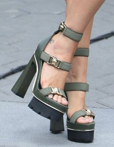79815e4ca6a Bella Thorne Promotes  LoveYourNature in Versace Skyscraper Heels  platformsandals  Platform High Heels