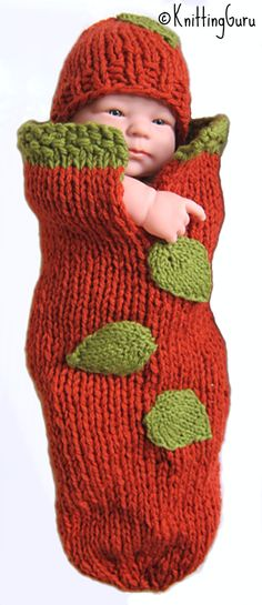 What the well dressed baby will wear for Halloween and Thanksgiving -- #Pumpkin Baby Cocoon #Knitting Pattern! Really fast and easy to make. Will keep baby cozy throughout the cool weather. #KnittingGuru ** http://www.KnittingGuru.etsy.com.