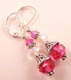 Crystal Earrings Beaded Earrings Pink Earrings Beaded Jewelry Silver Jewelry Crystal Jewelry Dangle Earrings Pink Jewelry