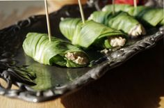 Baby Bok Choy Tuna Rolls Seafood Appetizers, Seafood Dishes, Pizza Day, Frozen Corn, Cabbage Rolls, Wrap Sandwiches, Tuna, Asian Recipes, Love Food