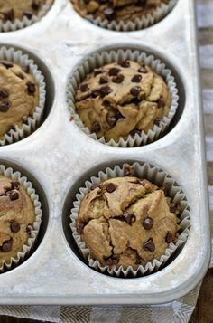 Skinny Banana Oatmeal Muffins. Less than 120 calories each and so moist and delicious!
