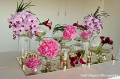 Exclusive Escort Card Table Design by Adam Leffel Productions Modern Wedding Centerpieces, Green Centerpieces, Dream Wedding, Wedding Dreams, Table Cards, Pink White, Wedding Flowers, Place Cards, Table Settings