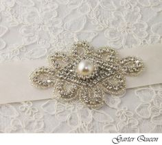 Bridal sash with rhinestones and large pearl