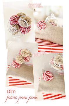 DIY: fabric pom poms  I love the striped pattern on these flowers. I have to get some fabric in all colors! LOVE <3
