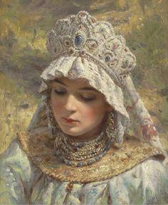 K. マコフスキーの作品にはココーシュニクと呼ばれる装飾品が度々登場します。華やかで様々なデザインに富むこの被り物はロシアの女性にとって伝統的なファッションアイテムでもありました。