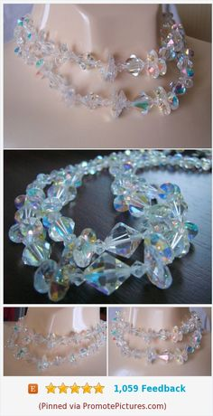 1950s 1960s Aurora Borealis Austrian Crystal Glass Rhinestone Bead Necklace * Bridal Wedding * Mid Century Vintage Jewelry * Jewellery https://www.etsy.com/JoysShop/listing/576916142/1950s-1960s-aurora-borealis-austrian?ref=shop_home_active_6  (Pinned using https://PromotePictures.com)