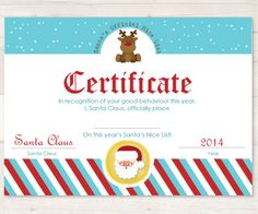 Santa Certificate from our 2014 Elf Planner