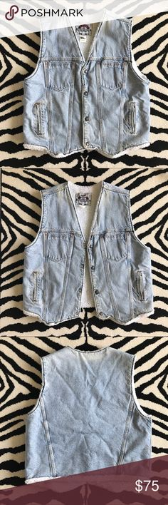 Vintage Levi's Shearling Vest Light wash Vintage Levi's Shearling Denim Vest. Naturally faded/stained & distressed. Adding to that vintage vibe. Some denim transfer on shearling see pictures. Great condition for vintage. Copper rivets and single stitched. Great piece! Levi's Jackets & Coats Vests