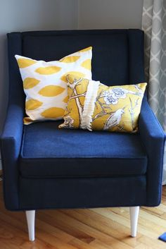 Navy and yellow for the back room. Love.