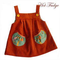 Jumper Dress, Orange Corduroy