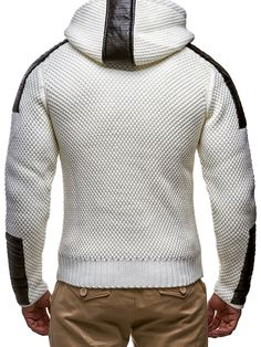 LEIF NELSON Men's Knitted Jacket 5015; Size L, White