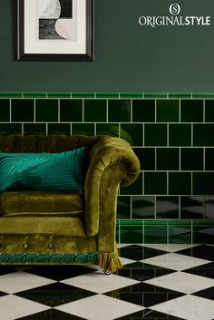 Wall tiles from Original Style, Artworks Range, Victorian Green Field Tile. Intense and Rich, Victorian Green is a stunning legacy from the Victorians. Stunning colour and a translucent glazes creates luxury in any interior setting.