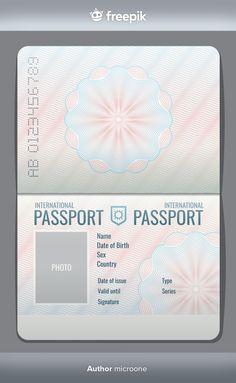 Blank open passport template isolated ve... | Premium Vector #Freepik #vector #vintage #travel #design #paper Passport Template, Passport Stamps, Visa Card Numbers, International Passport, Freepik Vector, Passport Travel, Tourist Map, Object Drawing, Smiling Man