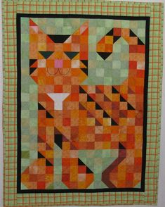 Items similar to Purr Patch on Etsy Cat Quilt Patterns, Quilt Square Patterns, Cot Quilt, Bird Quilt, Quilting Projects, Quilting Designs, Gatos Cats, Animal Quilts, Cat Crafts