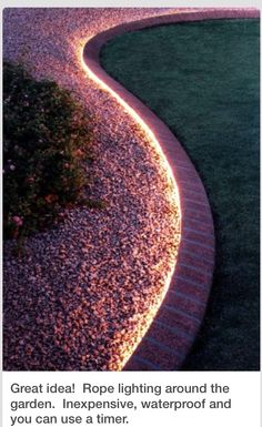 Use rope lighting to line your garden. 2019 Use rope lighting to line your garden. // 32 Cheap And Easy Backyard Ideas That Are Borderline Genius The post Use rope lighting to line your garden. 2019 appeared first on Backyard Diy. Outdoor Lighting, Rope Lighting, Landscape Lighting, Backyard Lighting, Driveway Lighting, Accent Lighting, Strip Lighting, Sidewalk Lighting, Unique Lighting