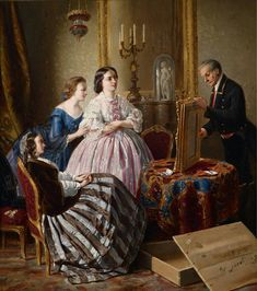 Anonymous - Late 19th Century - Woman looking at a newly unpacked (portrait) painting