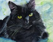 Black Cat Art Painting PRINT Watercolor Rachel Parker rachelsstudio Artist Artwork  I bought this for my sister, in memory of her black cat Mika, who passed away recently. Such a gorgeous painting.