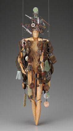 ♀ Environmental recycle art Urban Shaman  23 inches tall